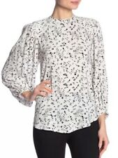 JOIE Lissane Women's Blouse Large White Black Floral Print Long Sleeve Top