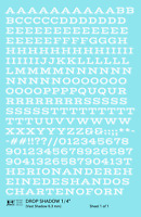 K4 O Decals White 1/4 Inch Drop Shadow Letter Number Alphabet Set