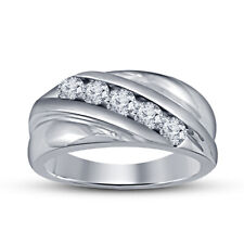 Pinky Band Ring 14k White Gold Plated 1.0 Ct Round Cut D/Vvs1 White Diamond Male