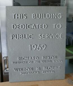 Vintage 1969 US Post Office Sign: President Richard Nixon Postal Service Plaque