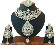 INDIAN VINTAGE STYLE JEWELLERY SET SILVER PLATED CLEAR STONES NEW - AQ/79