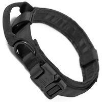 LIVABIT Heavy Duty 600D Nylon Tactical Dog Training Collar Handle Large Black