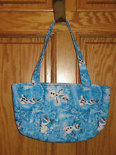 FROZEN OLAF TOTE Hand Sewn QUILTED BAG PURSE Blue SNOWMAN - Hook & Loop Closer