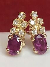 VINTAGE ESTATE 14K GOLD NATURAL RED RUBY & WHITE SAPPHIRE  EARRINGS  GEMSTONE