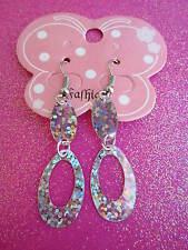 Silver Prism Sequin Loop Earrings  USA
