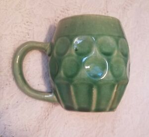 Hull Pottery Green Mug  Marked H 493 Citcles & Lines