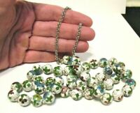 VINTAGE CLOISONNE BEAD NECKLACE WHITE GREEN RED BLUE SILVER 30 INCHES