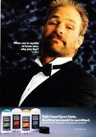 1990 Baseball Star Kirk Gibson in Tux photo Right Guard Deodorant promo print ad