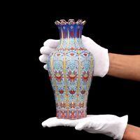 "9"" China antique Porcelain qing yongzheng colour enamels Gild flowers Vase"