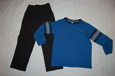 Boys Outfit Blue L/S Henley T-Shirt Black Casual Woven Pull On Pants Size 5