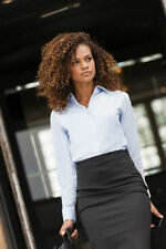 Russell Collection Ladies WHITE Long Sleeve Oxford Shirt Work Wear Office 932F
