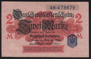 1914 2 Mark WWI German Old Vintage Paper Money Banknote Currency World War UNC