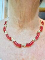 Vintage 1950's RED Thermoplastic w/Rhinestones Adjustable Necklace