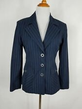 CAbi PINSTRIPED BLAZER NAVY BLUE SIZE 6 COTTON BLEND
