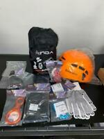 Lot Xinda Rock Climbing Kit Harness Protect Helmet Accessories Carabiners Ring