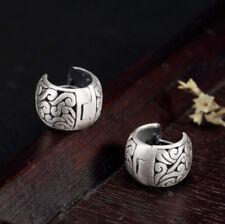 925 Sterling Silver Filigree Huggie Hoop Earrings A1747