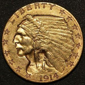 1914-D U.S. Indian Head $2.50 Quarter Eagle Gold Coin