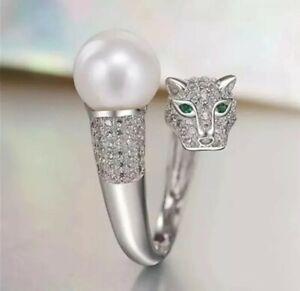 BENIAMINO Leopard Ring 925er Sterling Silber Süßwasser Perle Silberschmuck OVP