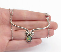 925 Sterling Silver - Vintage Fire Opal Swirl Round Link Chain Necklace - N3401