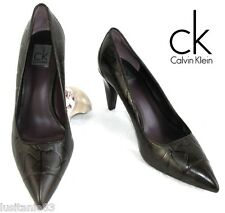 CALVIN KLEIN -PUMPS MODEL POLLY ALL LEATHER DARK CHOCOLATE 37