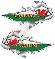 Pair526mm Welsh Flag Metal Rip Open Torn Sticker 4X4 Race Car Truck Van Off Road