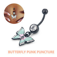 1x Stainless Steel Butterfly Belly Button Body Piercing Navel Ring Jewelry JT