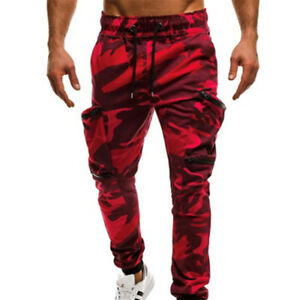Mens Camouflage Camo Cargo Combat Trousers Joggers Track Army Sweat Long Pants