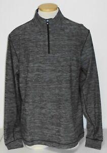 NWT Footjoy Space Dye Brushed Back Jersey Quarter-Zip, Black, Large, 25179