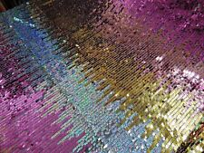 Pink, Silver, Gold Holographic GLITCH Sequin on Mesh, Mechanical Stretch fabric