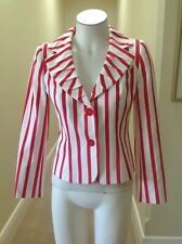 Designer George Gross  red and white striped  jacket, size 8, hip length, lined