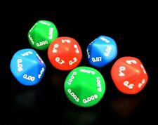 Set of 6 Place Value Dice – Tenths to Thousandths - 2 of Each - Primary Colors