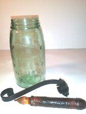 Mason Glass Reproduction Jar Black Iron Hook Holder Battery Operated Candle