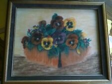 Art Pansies framed signed CMB/insignia parchment paper watercolor or pastel