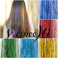 """28"""" Salon Silk Hair Tinsel 1 Pack 250 Strands 40 Colors Synthetic Hair Extension"""