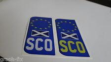 Scotland Scottish 3D Car Numberplate Domed Gel Sticker x 2