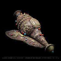 Tibetan buddhism Vajrayana conch shell carved Garuda mantra ritual implement