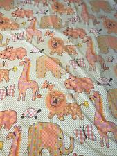 Vintage Fieldcrest Flat Sheet Pink Giraffe Elephant Calico Zoo Green Twin