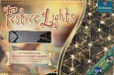 140 Traditional Christmas Shadeless Multicoloured Fairy Lights (Bulbs)