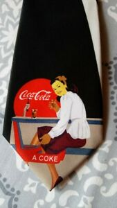 "Coca-Cola Soda Fountain Girl Promotional Tie Novelty 57"" L 3 11/16"" W"