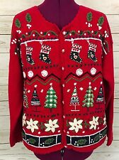 Tiara International Red Ugly Christmas Cardigan Sweater Stockings Trees Size M
