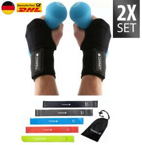 Sportbandage Handgelenk 2er Set + Fitnessbänder 5er Set Fitnessband Handbandage