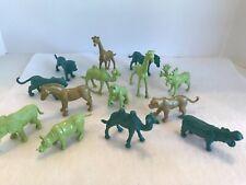 Miniature Mini Animals Plastic Assorted Lot Of 14 Gold Blue Green ~ 1-2� Tall