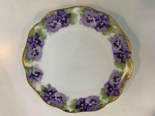 Vtg Antique Rosenthal Porcelain Chrysantheme Plate w/ Purple Floral Decorations