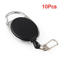 10Pcs Retractable Reel Key Chain Pull Key ID Card Badge Tag Clip Holder Buckle