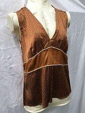 NWOT Penguin by Munsingwear Brown Silk Blouse Top 8