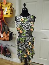 TOPSHOP Dress Black/Grey/Green/Pink/Yellow Floral Print Cut Out Sides Size 16