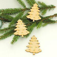 Tannenbaum 8cm Holz 3 St. zum Anhängen am Weihnachtsbaum Advent Fensterdeko