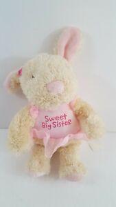 "Hallmark SWEET BIG SISTER Bunny Plush Stuffed Toy Baby Plush Pink Tutu 9"""