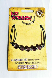 Amethyst gemstone necklace No Worries! No Worry Beads for stress