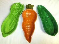 Vintage Ceramic Vegetable Serving Dishes Carrot Celery Cucumber Lot of 3